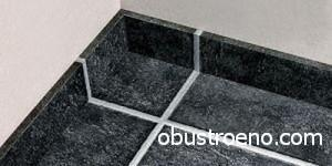 Пример составления швов плинтуса и плитки