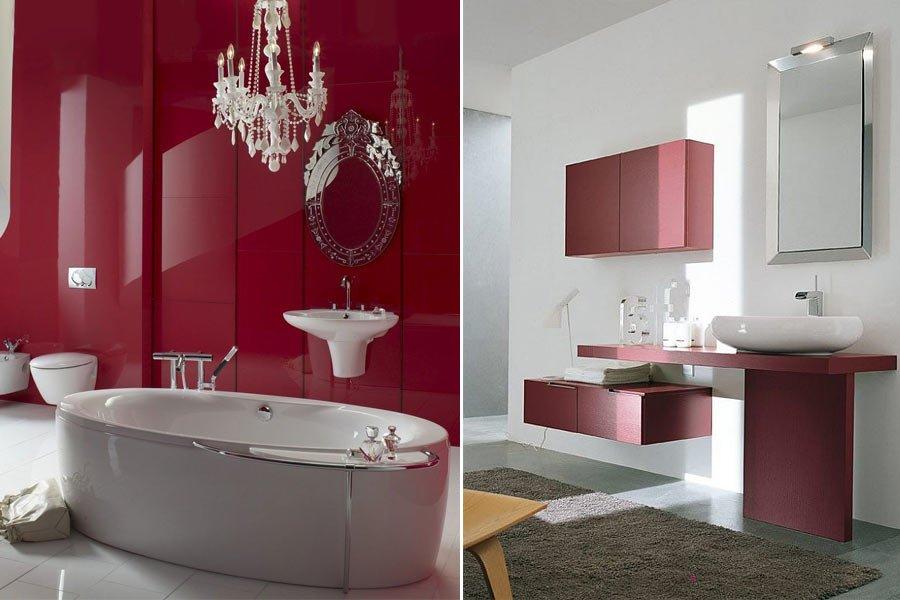 дизайн ванной бордовый