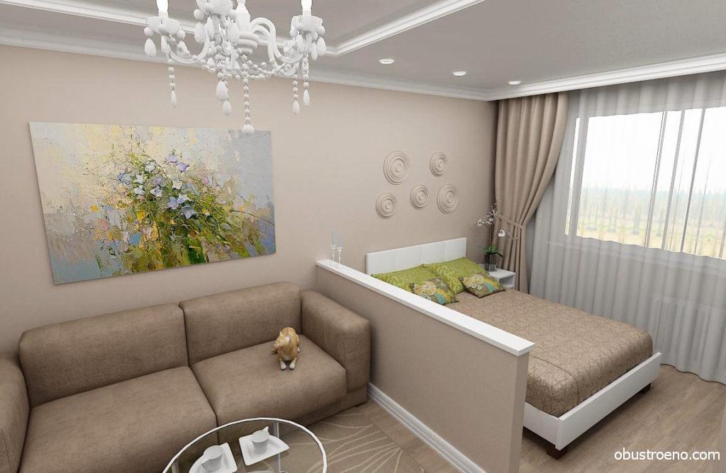 Даже невысокая гипсокартонная перегородка может замечательно вписаться в комнату семейной пары и умело отделить спальное место от зоны отдыха