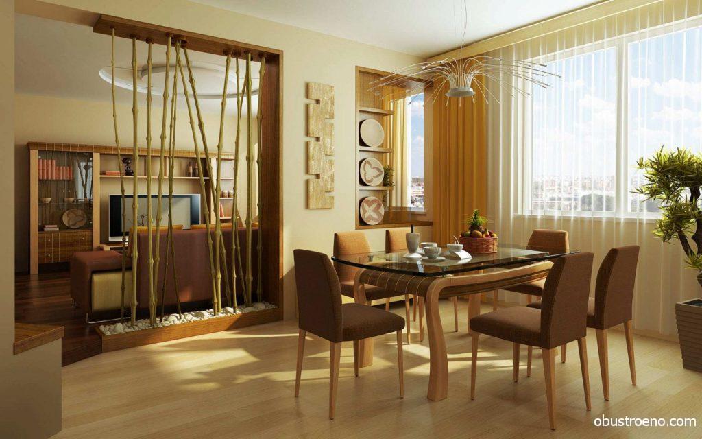 Декоративная перегородка в интерьере гостиной и столовой комнат