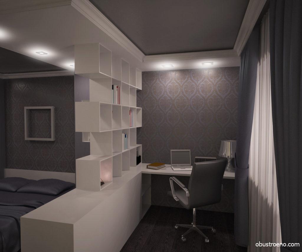 Декоративные конструкции хорошо вписываются в интерьер комнат, где спальное место совмещается с рабочим кабинетом