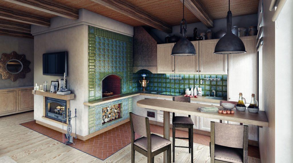 Дизайн кухни с печкой должен разрабатываться так, чтобы все элементы составляли единое целое и создавали гармоничную атмосферу