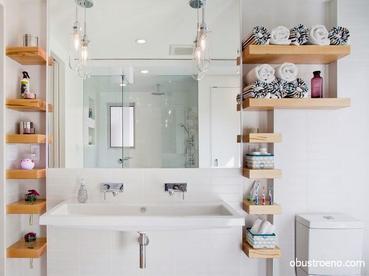 Дизайн ванных комнат и санузлов в 2016 году часто включает в себя деревянные открытые полки