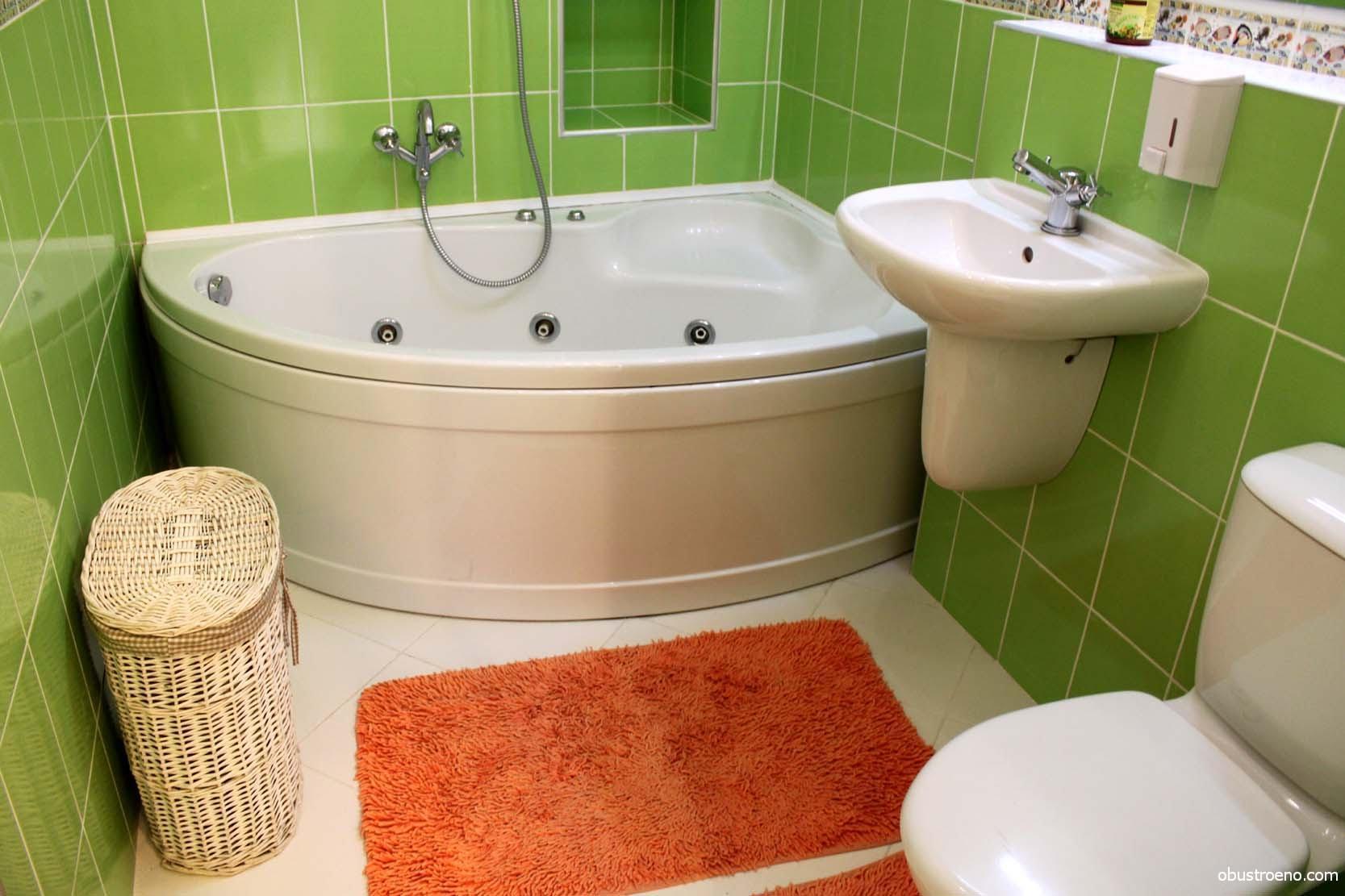 Ванная комната 3 кв.м с угловой ванной дизайн