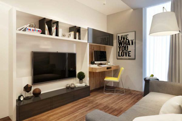 Эстетика минимализма более всего подходит для комнаты, имеющей площадь 12 квадратов.
