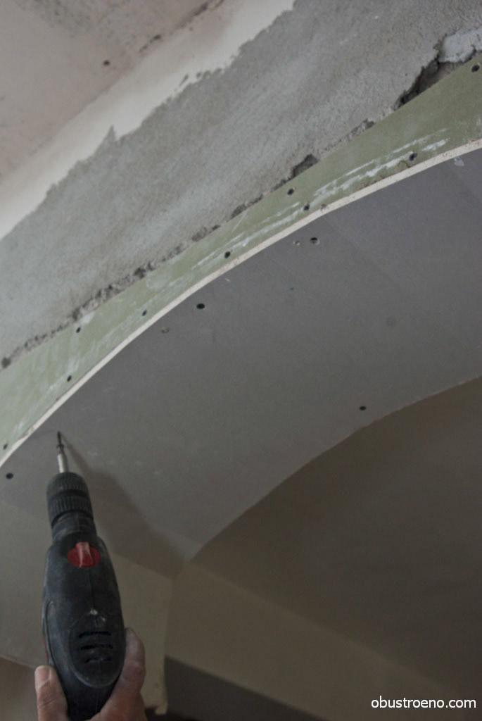 Фиксация арки из гипсокартона