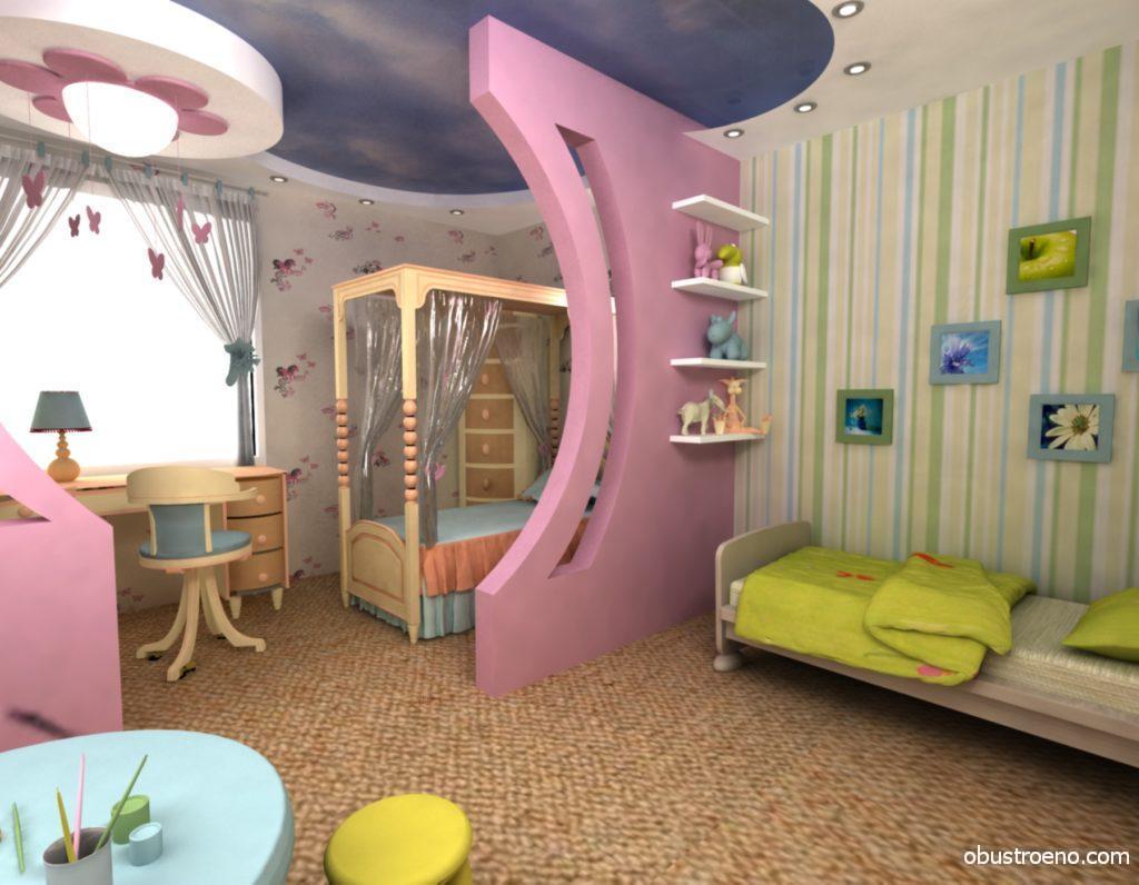 Гипсокартонные элементы прекрасно вписываются в интерьер детской комнаты