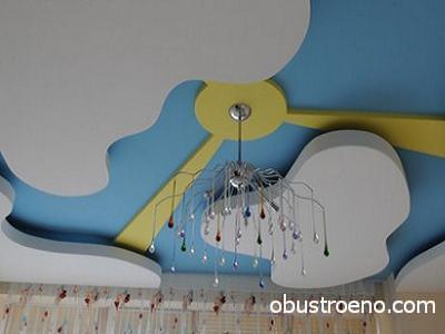 Гипсокартонные облака приятно освежают спальню ребёнка
