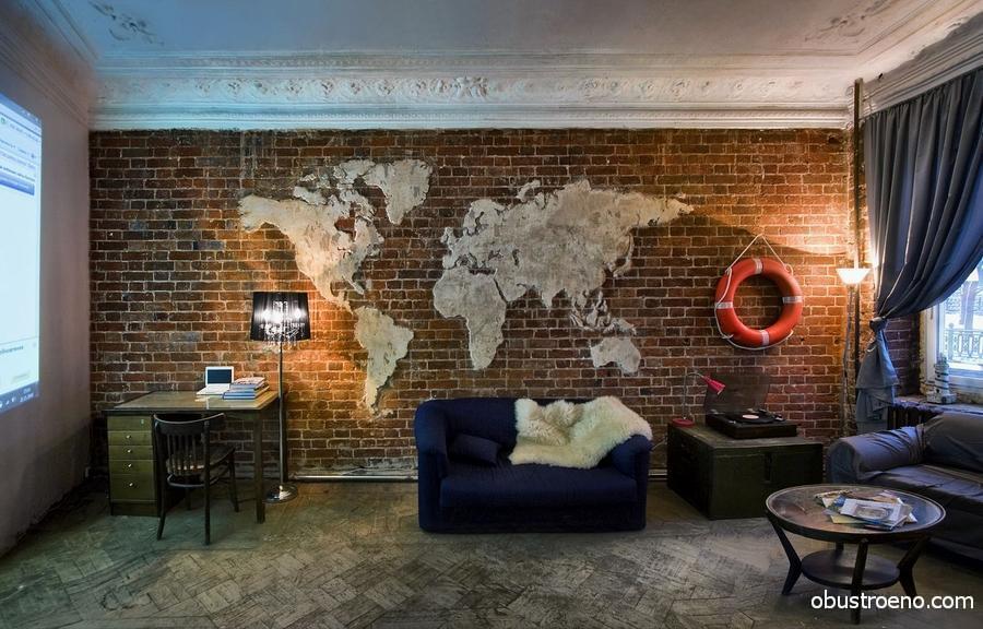 Из цементного раствора можно создать различные эффекты, в нашем случае искусный мастер имитировал карту мира