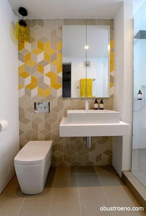 Легкие «лимонные штрихи» на стене при помощи комбинации оттенков плитки
