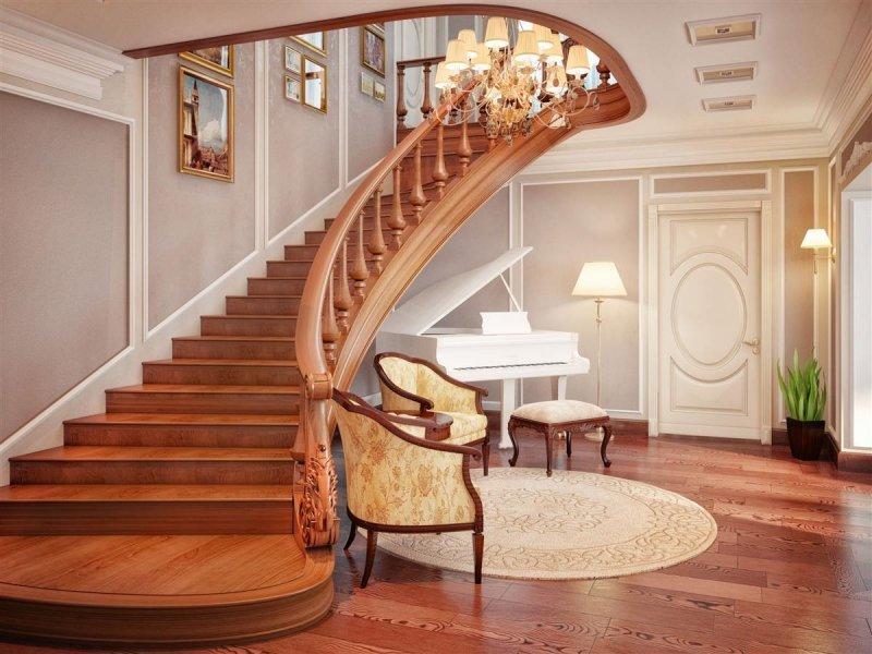 Дизайн лестницы с холлом