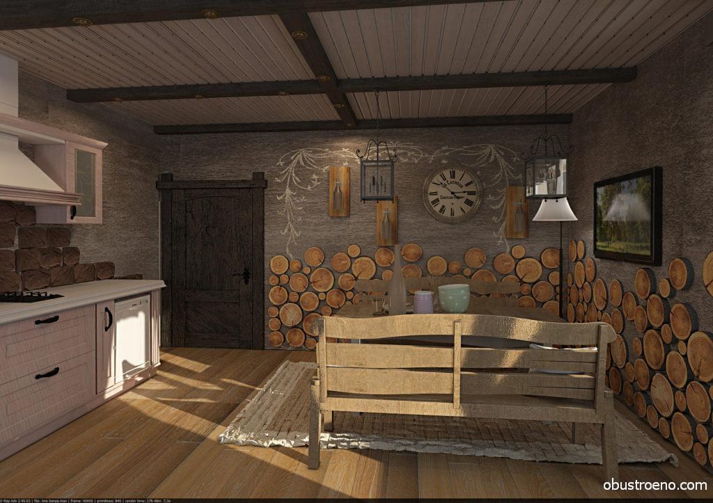 На этом фото сразу два интересных решения, которые позволяют сделать внутренний дизайн бани необычным: светлый потолок с балками, в которые встроена подсветка и отделка стен спилами деревьев, дополненная искусной росписью на стенах