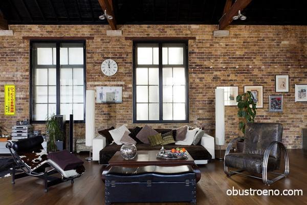 На фото: невозможно представить гостиную в стиле лофт без кирпичной стены