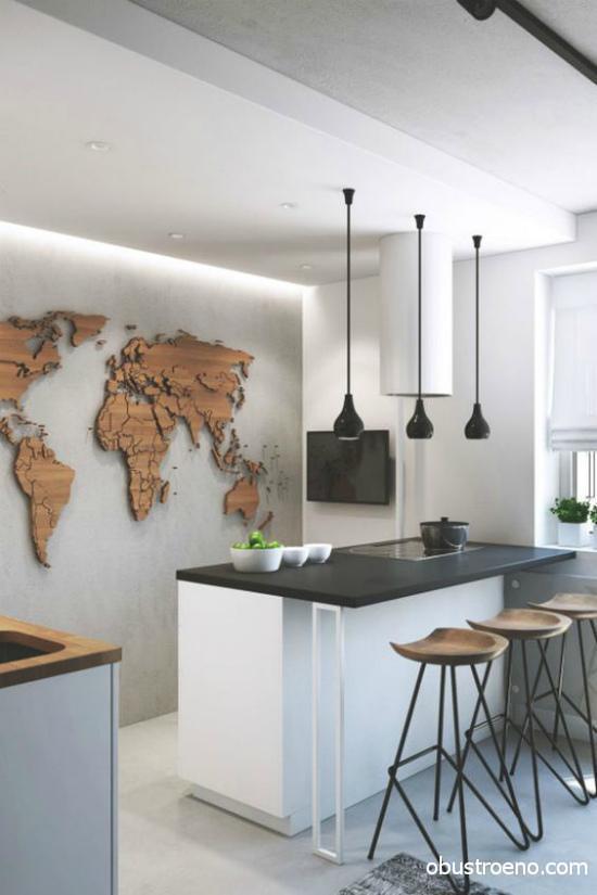 На стене может быть всего одна деталь, которая подчеркнет стиль, как эта карта мира на фото