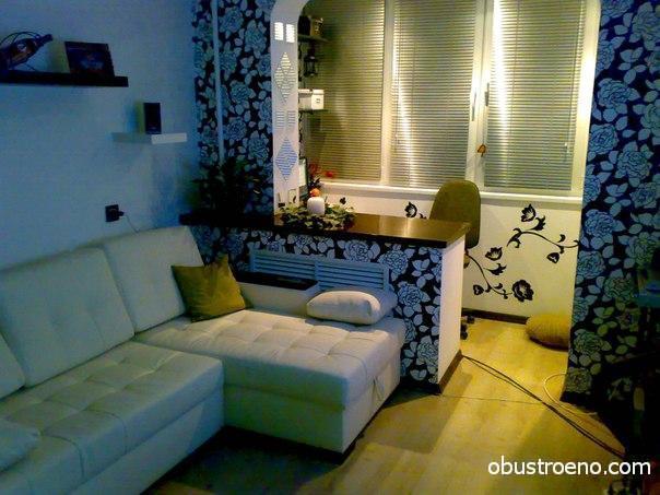 Дизайн балкона: оформление спальни, интерьер с цветами, совм.