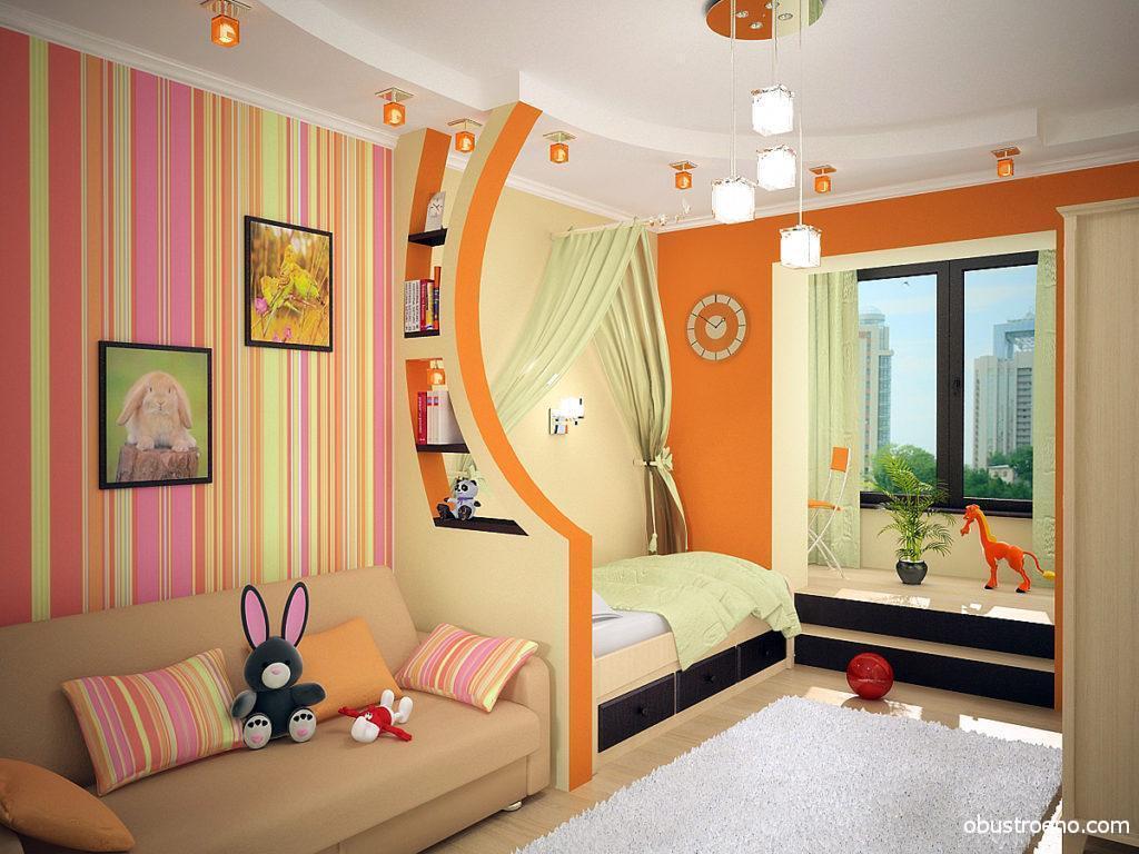 Оригинальный интерьер детской комнаты с зонированием