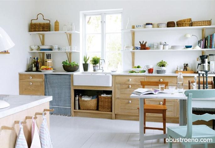 Открытые полки, посуда, текстиль и другие предметы позволят создать уникальный кухонный декор