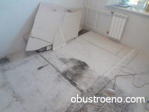 Пораженные участки выравнивающего слоя нужно демонтировать и вынести из дома.