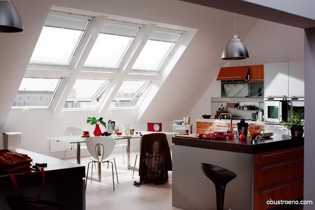 Пример кухни с большими окнами