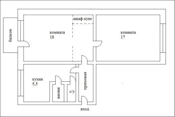 Пример перепланировки «трамвая», комнаты становятся изолированными.