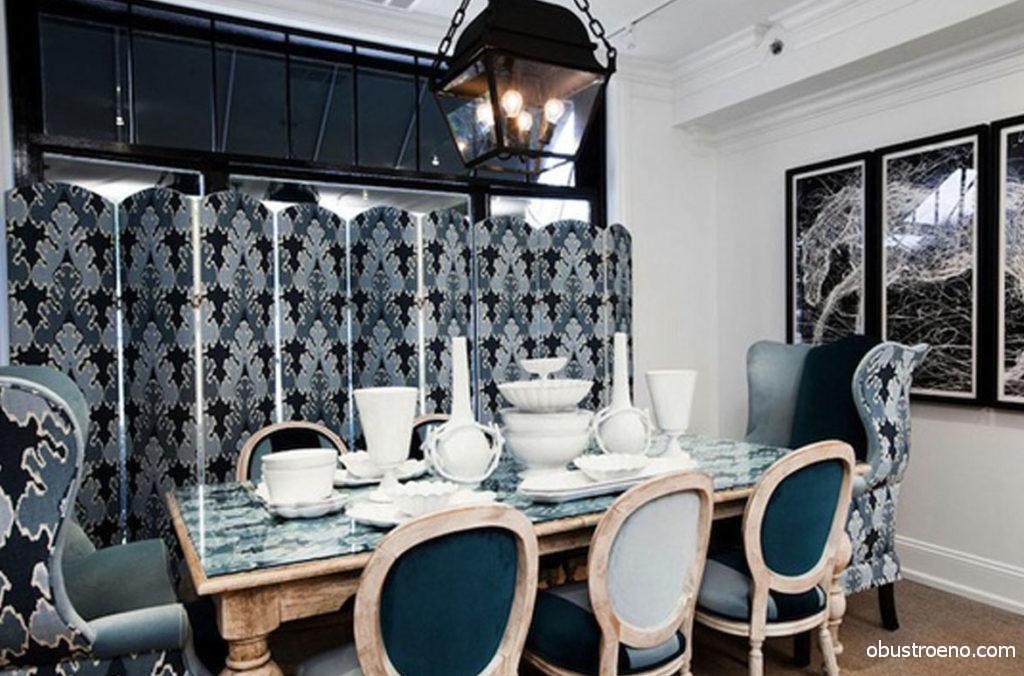 Разделить столовую и кухню можно как раздвижными, так и стационарными перегородками