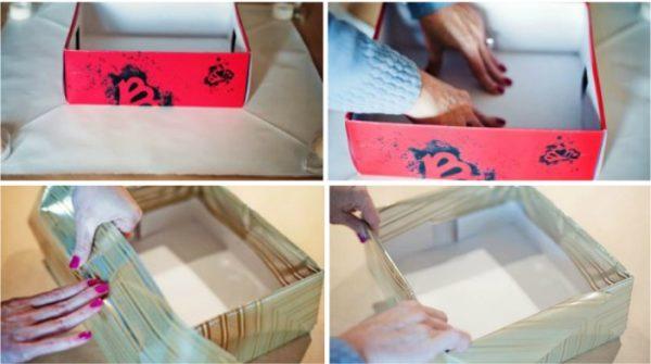 Схема обклейки коробки бумагой