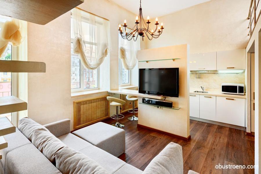 дизайн кухни с гостиной в квартире фото 17 кв м