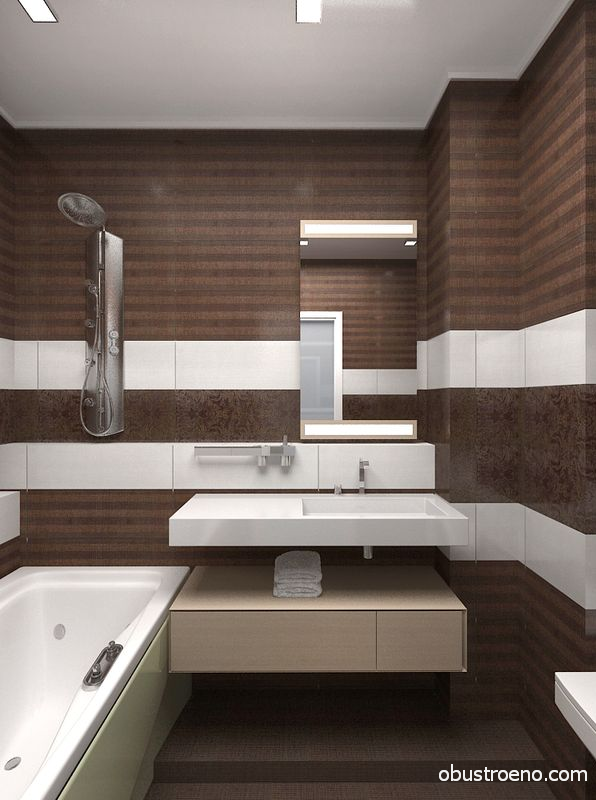 Современный и строгий дизайн ванной