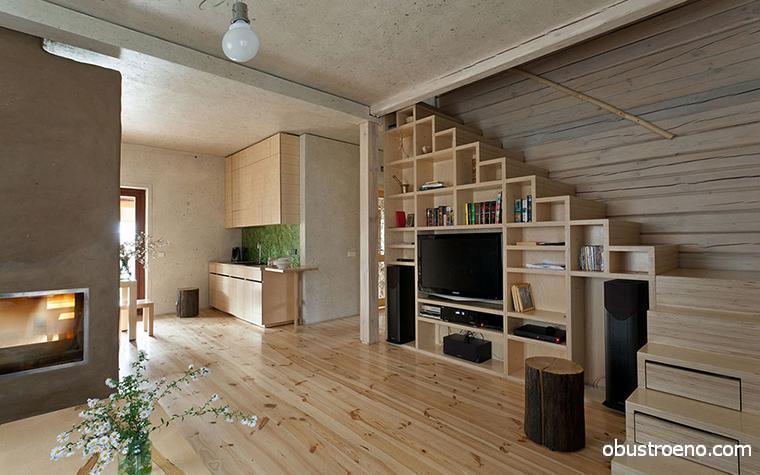 Такая лестница на чердак не только сэкономит много места, но и прекрасно впишется в интерьер в стиле эко