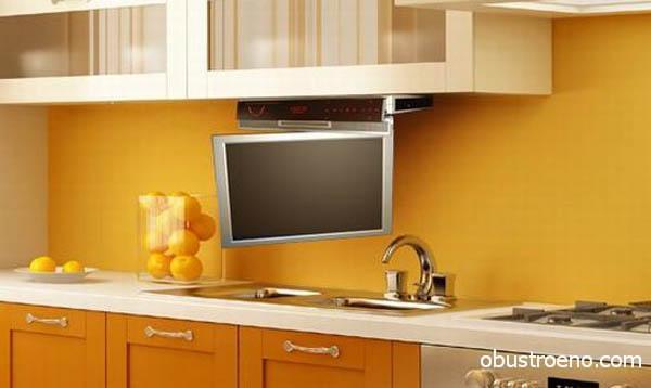 ТВ панель в интерьере кухни на кронштейне