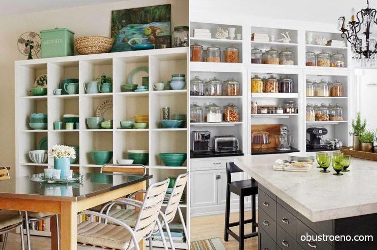 Выставив банки и посуду на открытые полки, вы подчеркнете индивидуальность пространства