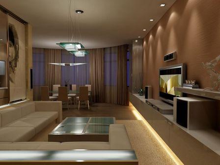 Зонирование гостиной-столовой при помощи мебели.