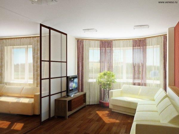 Зонирование спальни-гостиной при помощи легкой перегородки.