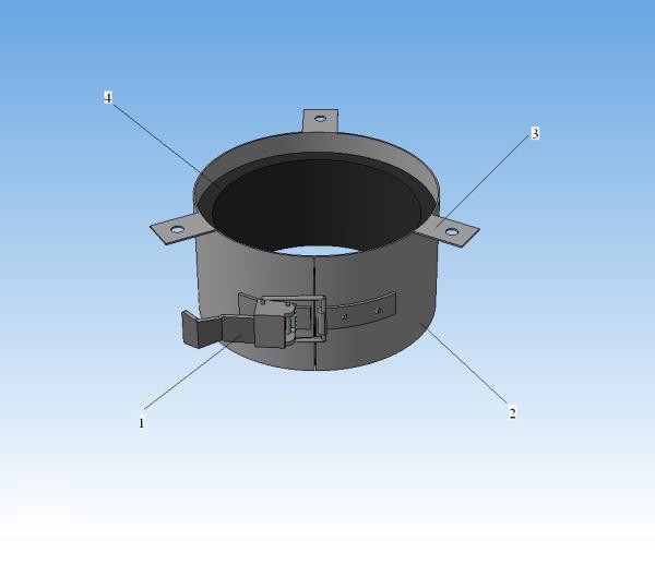 1- замок-стяжка, 2 - разъемный корпус из оцинковки, 3 - лепестки для крепления, 4 - терморасширяющийся вкладыш.