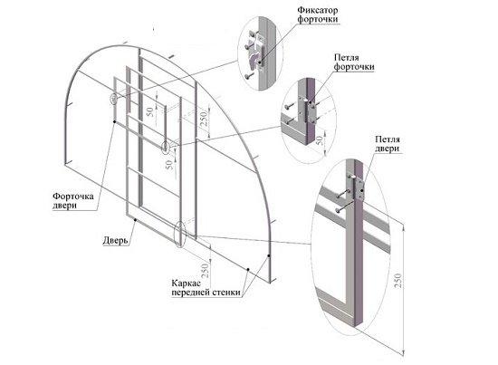 Чертеж торцевого модуля с дверью.