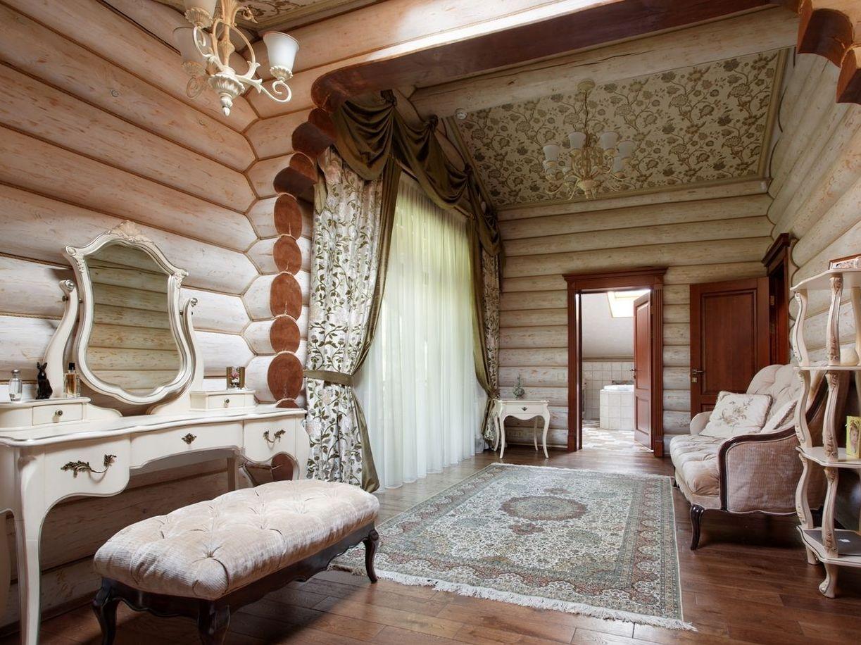 Дизайн дома из бревна внутри