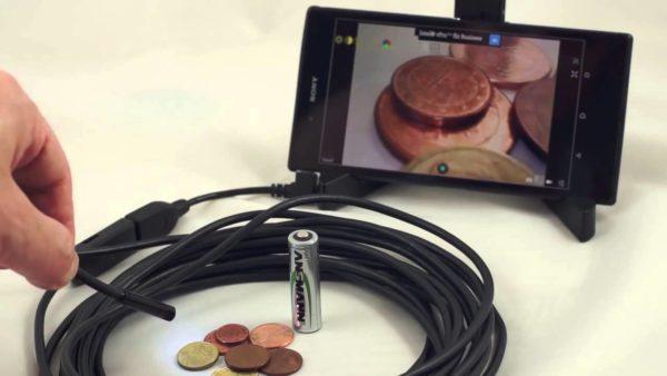 Камера-эндоском для поиска дефектов в дымовой трубе.