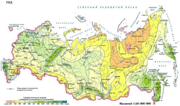 Карта годового объема осадков в регионах РФ.