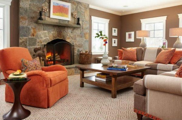 Комната в шоколадных тонах – интерьер, сочетающий в себе оттенки оранжевого, бежевого и коричневого