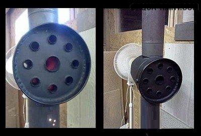 Конвектор в сборе, установленный на дымоход.