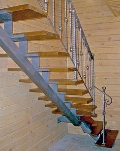 Лестница на одном прямом несущем косоуре.