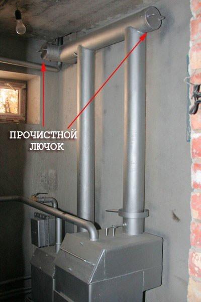 На фото показаны места установки прочистных лючков.