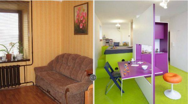 На фото представлены комнаты со схожей квадратурой. А теперь, как говориться, почувствуйте разницу