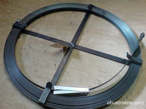 Наряду с проволокой для прочистки труб большого диаметра используется стальная лента.