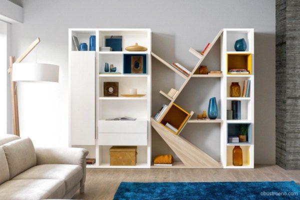 Нестандартные формы шкафов и комодов отвлекут внимание от низких потолков и скромной площади комнаты