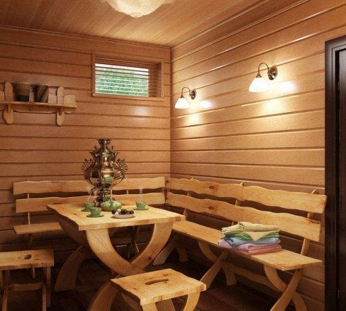 Незатейливый дизайн комнаты отдыха в сауне