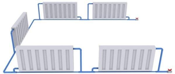 Однотрубная горизонтальная разводка отопления