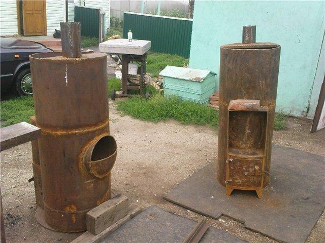 Вертикальная печка для бани из трубы своими руками
