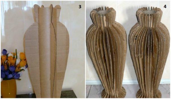 prikleivaem-kartonnye-rebra-dlya-pridaniya-buduschey-vaze-nuzhno-600x348 Как сделать вазу из банки своими руками: 6 способов и 50 фото