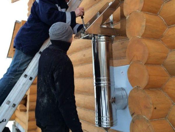 Прочистить вывод печной трубы через стену несложно из-за разборной конструкции